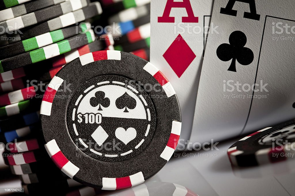gambling chips and aces royalty-free stock photo