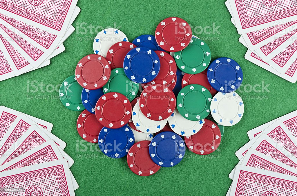 Gambling Chips and Cards royalty-free stock photo