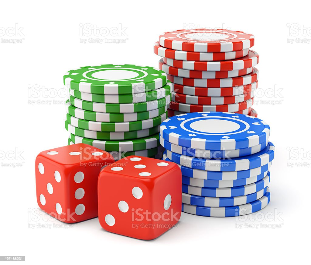 Gambling chips and dices stock photo