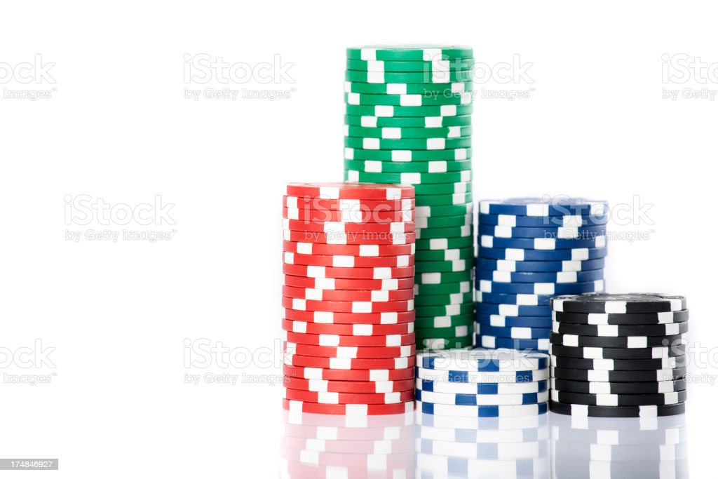 Gambling chips stacks stock photo