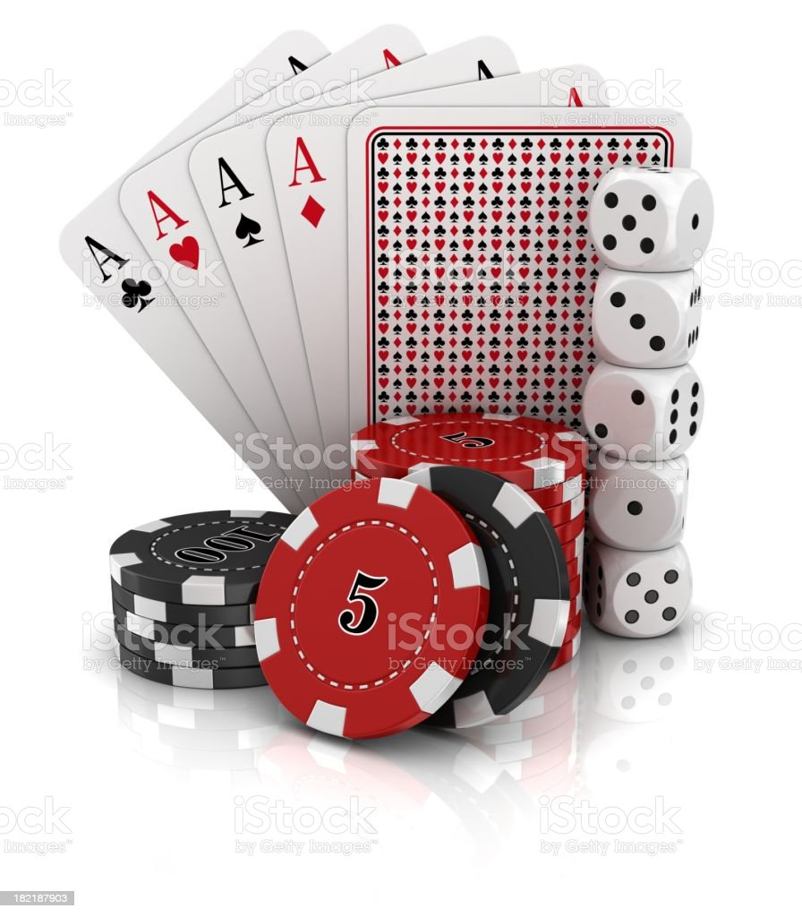 gambling on white background royalty-free stock photo