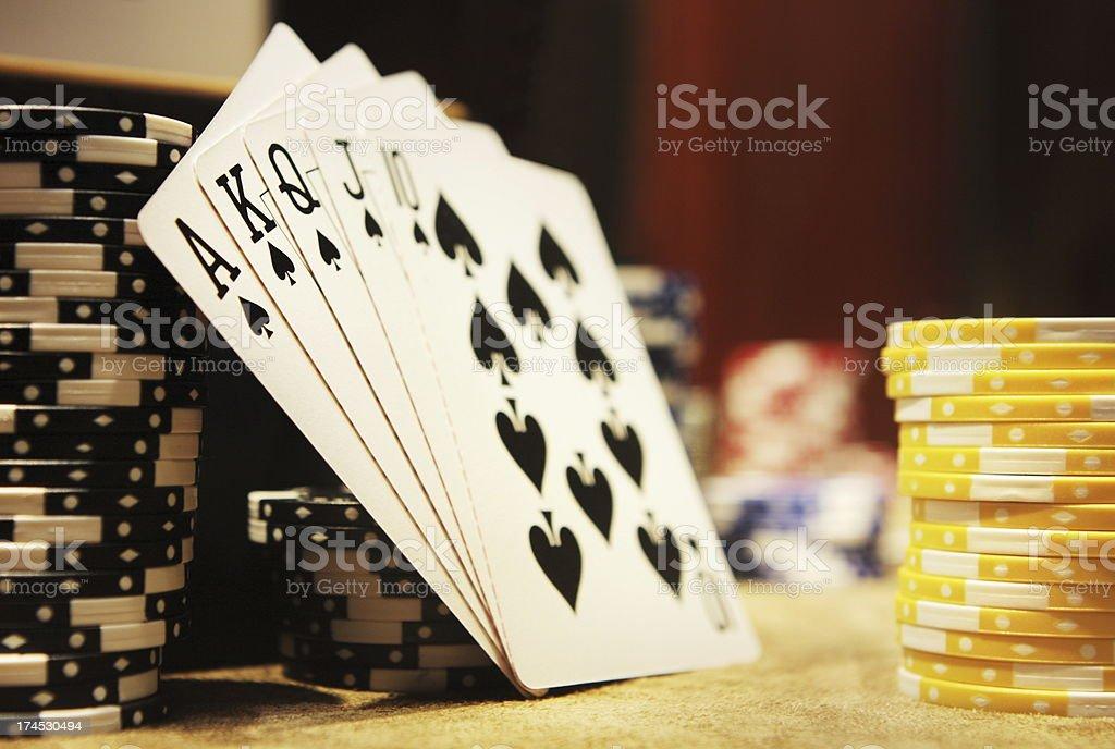 Gambling Poker Hand Royal Flush Spades stock photo