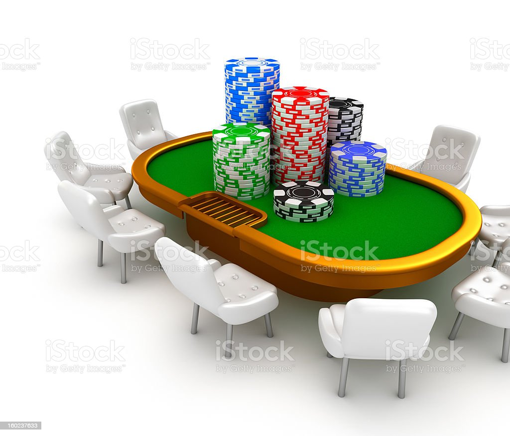 Gambling poker table with chairs and chips on it. stock photo