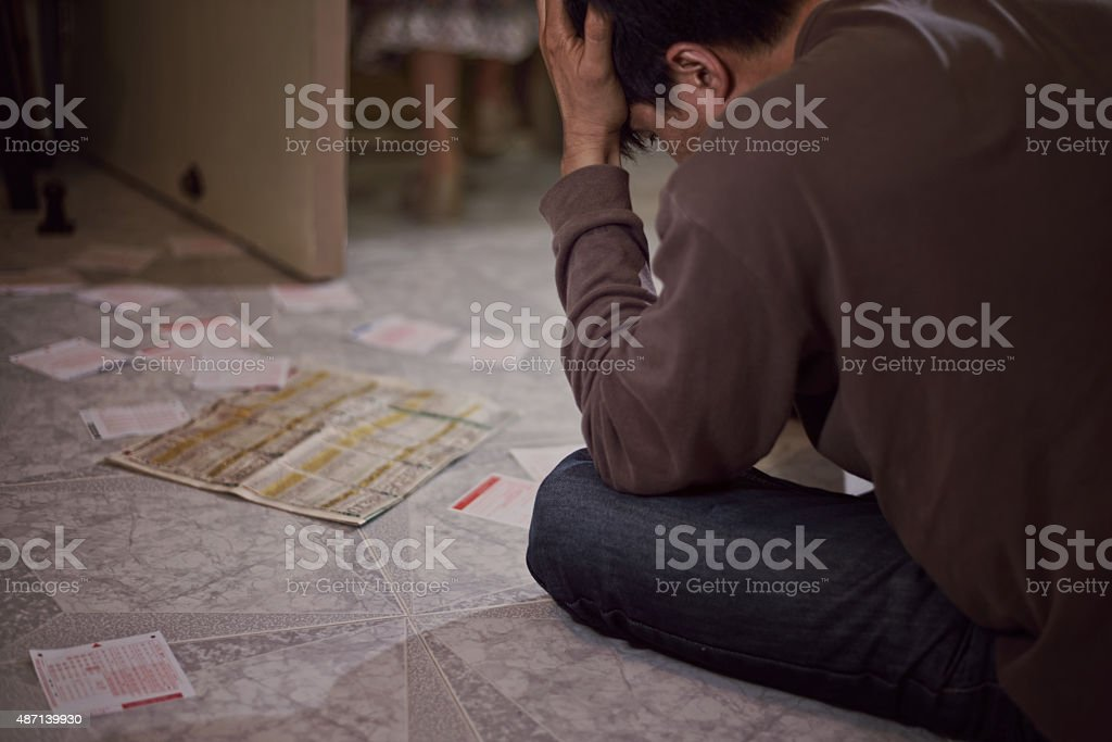 gambling problem and family conflict stock photo