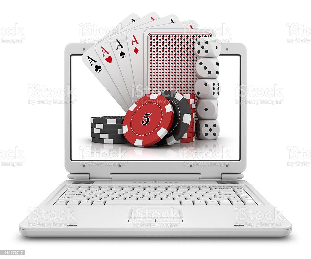 gambling stuff in laptop royalty-free stock photo