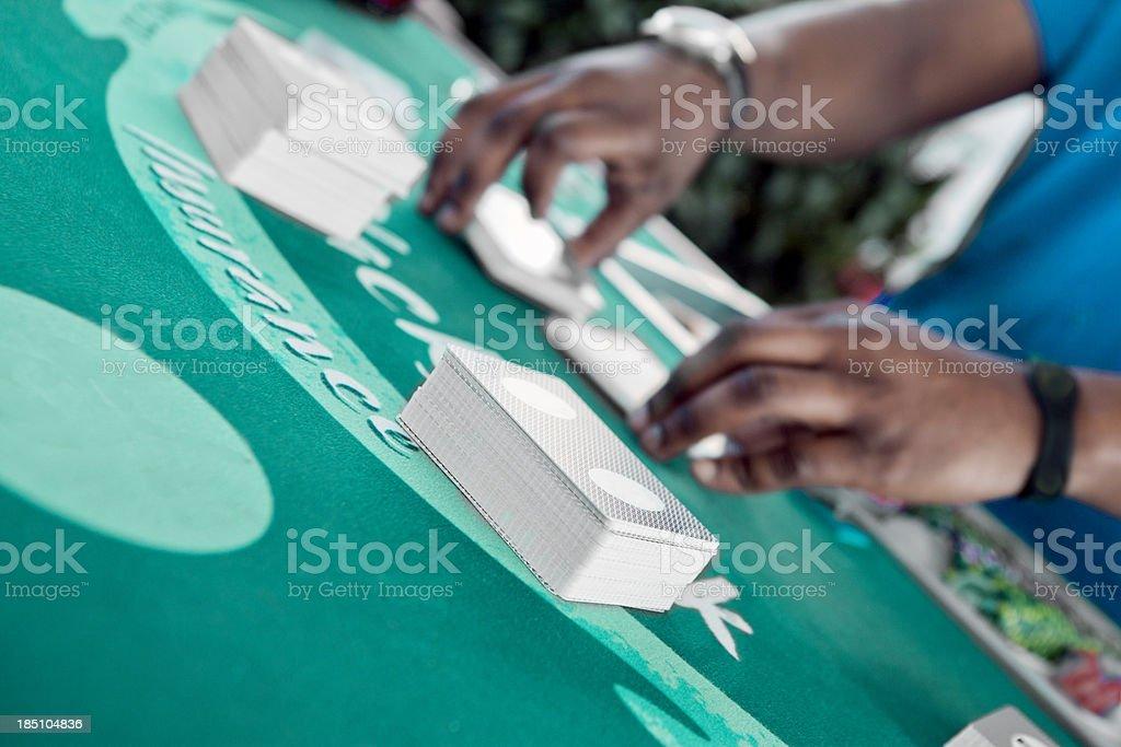 Gambling:blackjack, 6 deck shuffle royalty-free stock photo