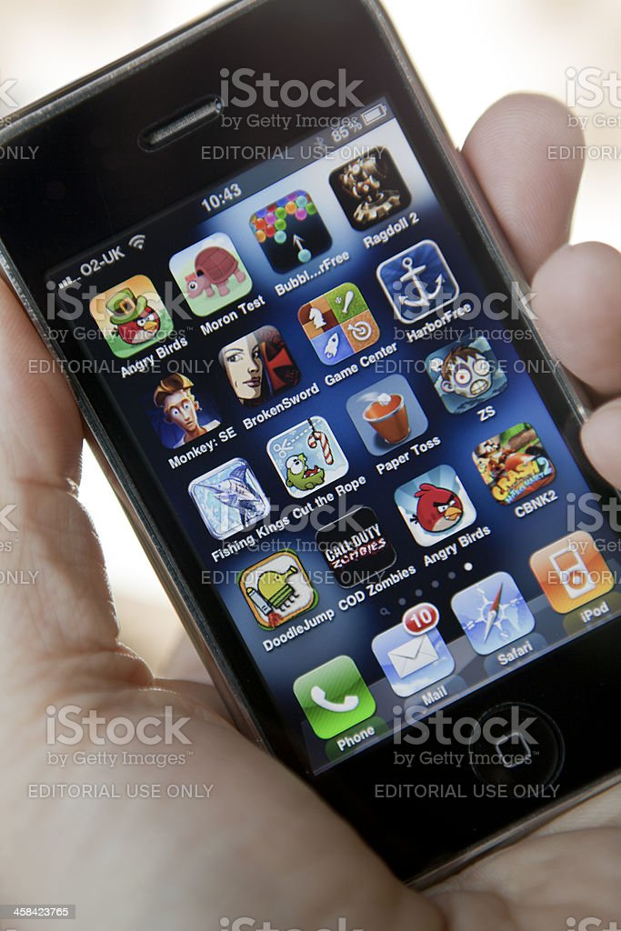Game App Icons on Apple iPhone stock photo