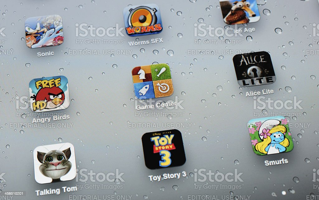 Game Apps on Apple iPad 2 stock photo