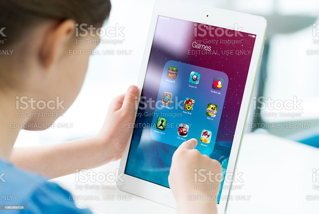 Game apps on Apple iPad Air stock photo