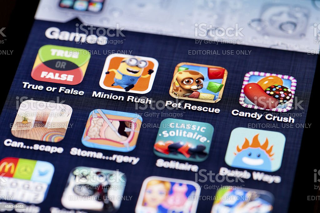 Game apps on iOS royalty-free stock photo