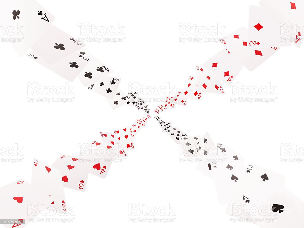 Game cards flying . Isolate on white background stock photo