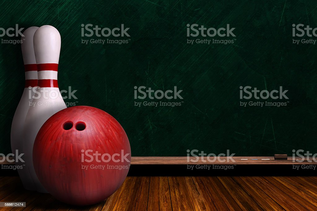 Game Concept With Bowling Equipment and Chalk Board stock photo