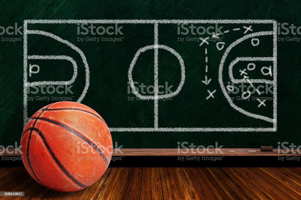 Game Concept With Rugged Basketball and Chalk Board Play Strategy stock photo