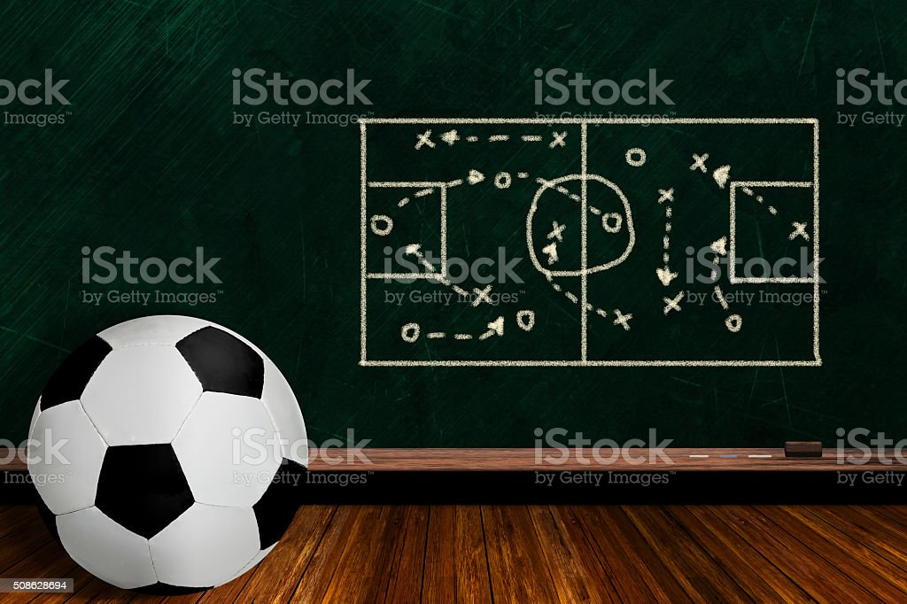 Game Concept With Soccer Ball and Chalk Board Play Strategy stock photo
