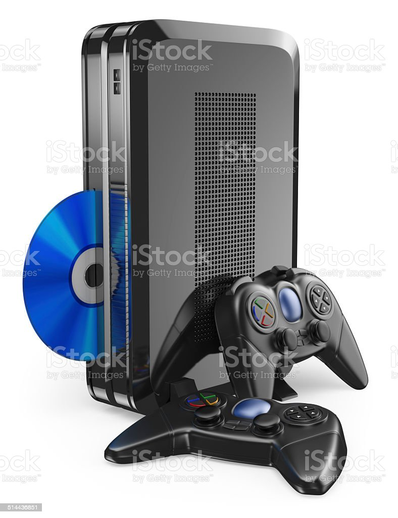3D game console with gamepad stock photo