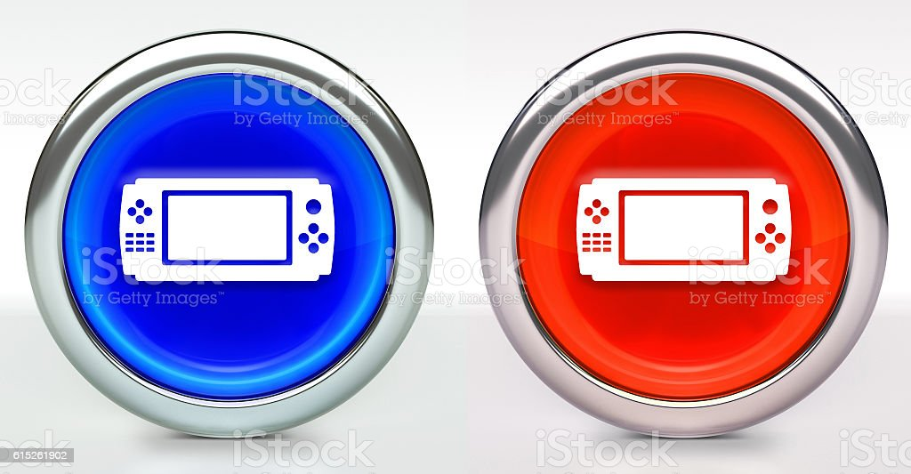 Game Controller Icon on Button with Metallic Rim stock photo