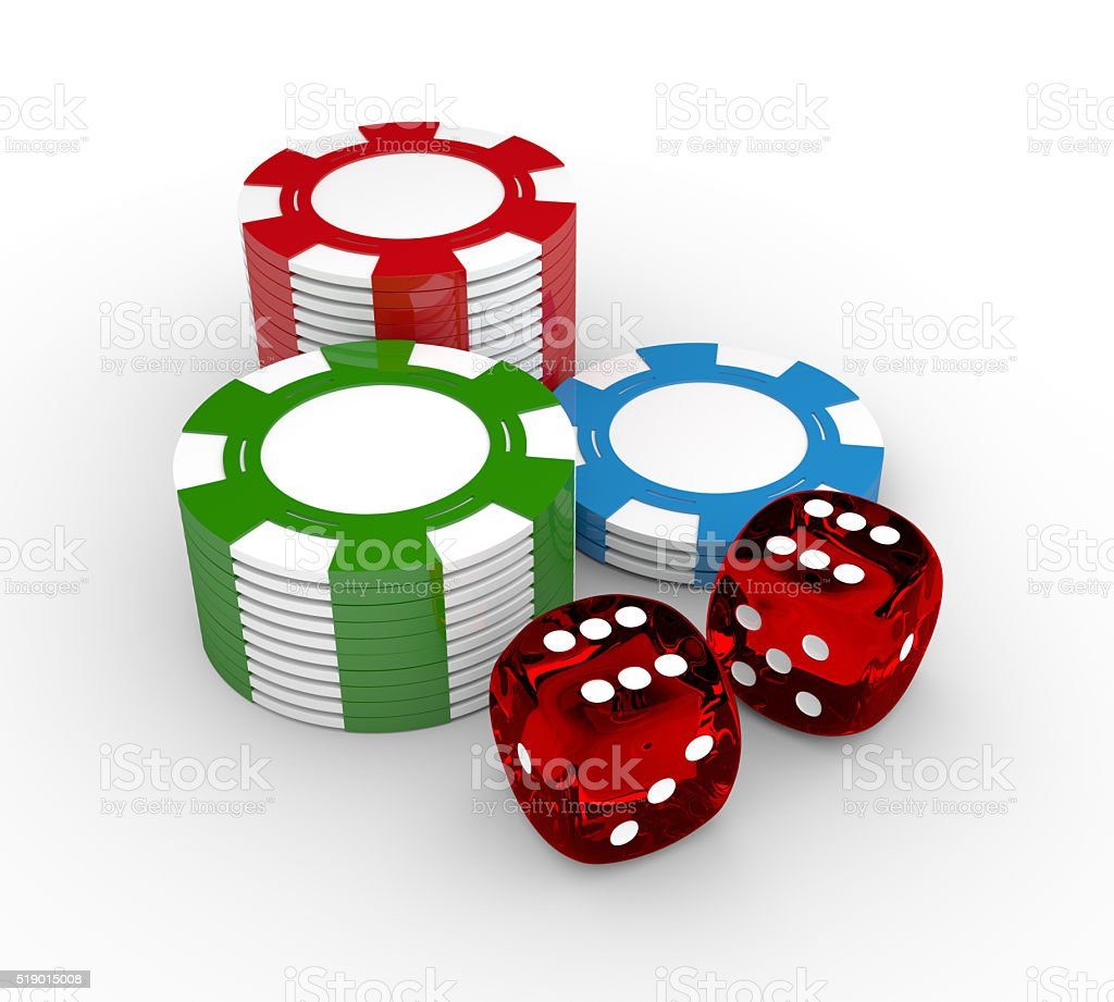 game dices and gambling chips lying on white desk stock photo
