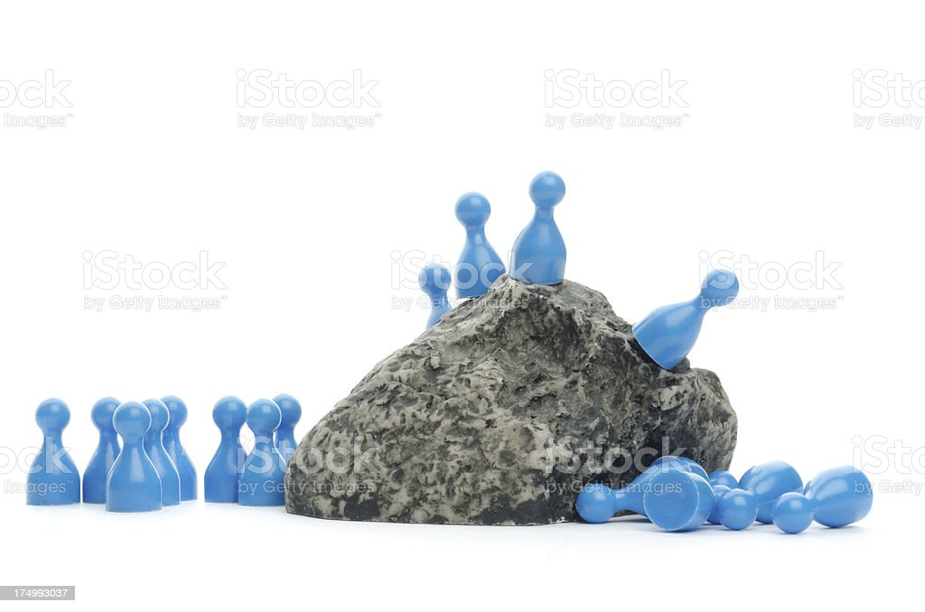 game figurines as lemmings falling down stock photo