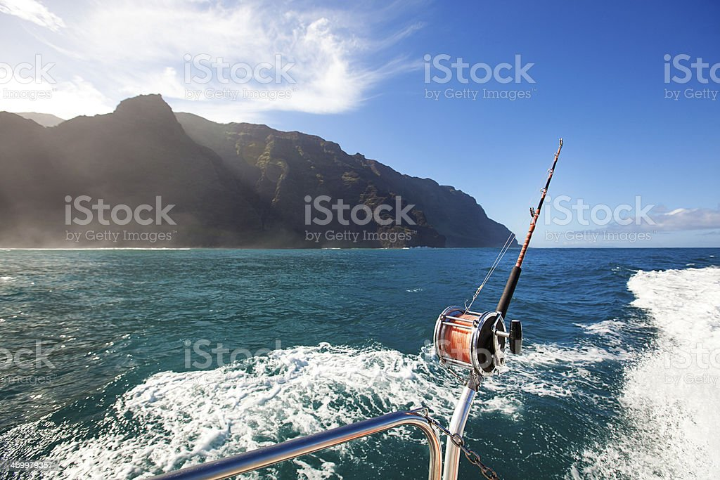 Game Fishing at the Na Pali Coast of Kauai stock photo