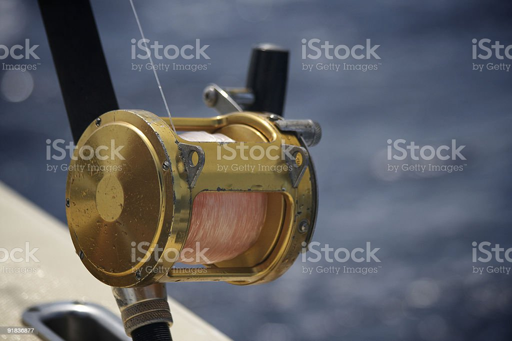 Game fishing reel stock photo