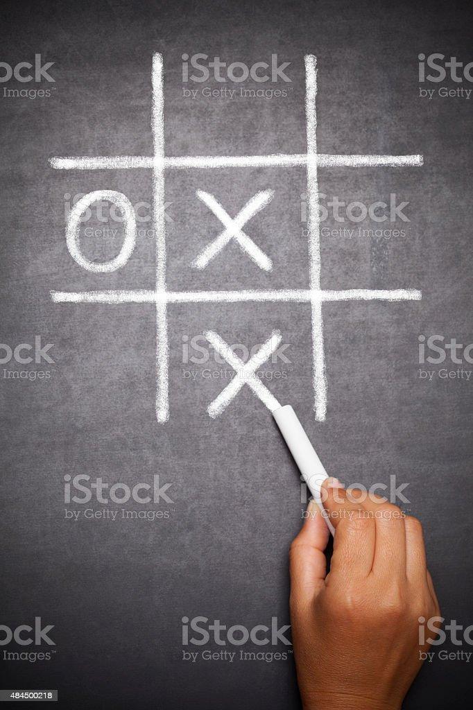 O X Game on blackboard stock photo