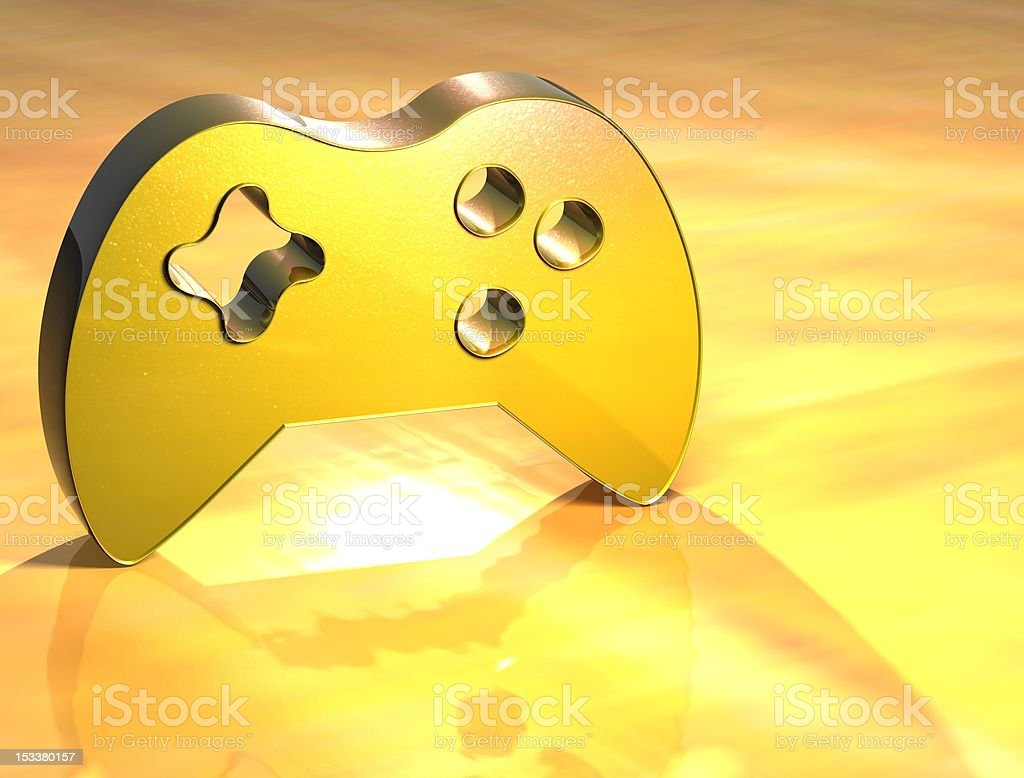 3D Game Pad Gold Sign royalty-free stock photo