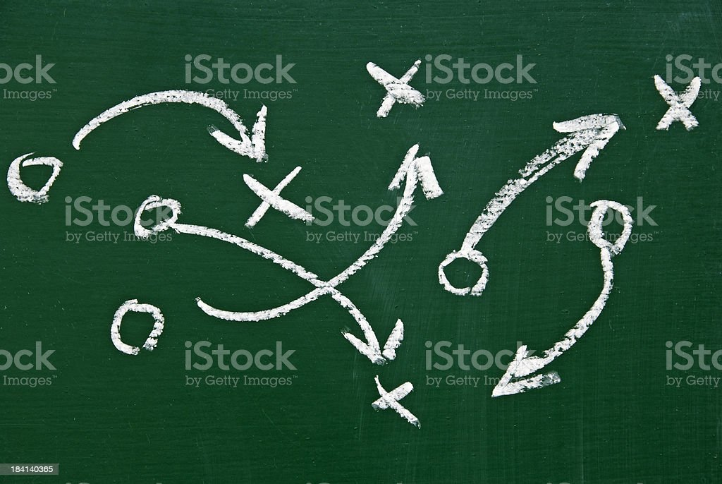 game plan on chalkboard stock photo