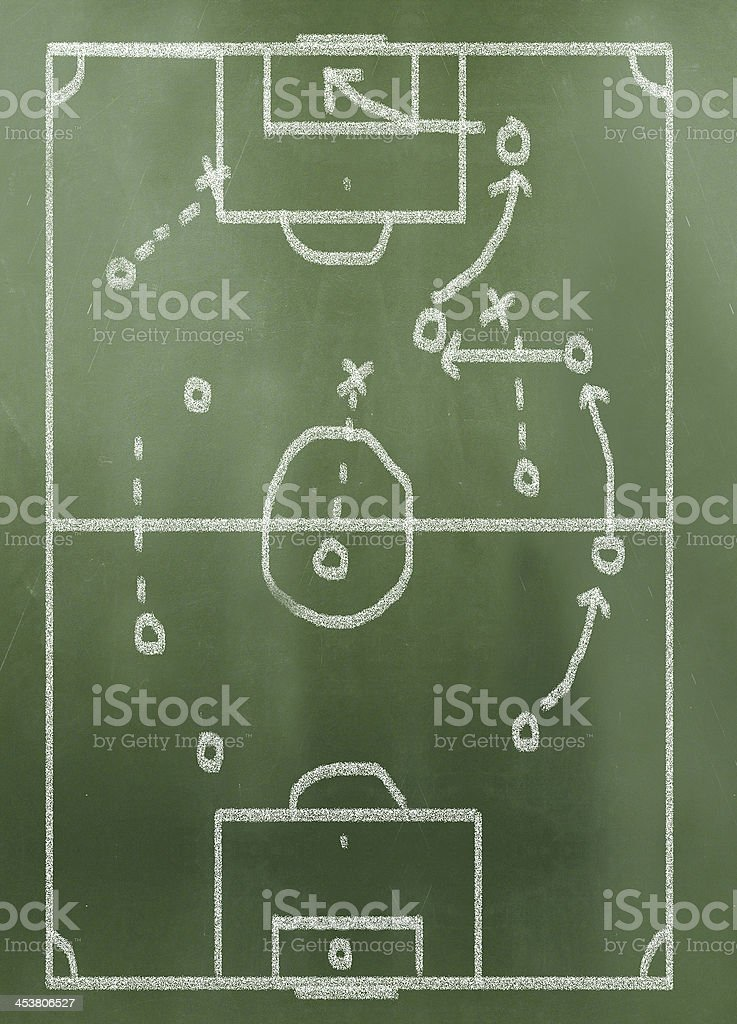 game plan on greenboard stock photo