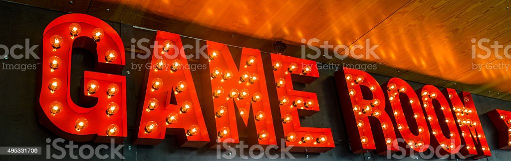 Game room sign stock photo