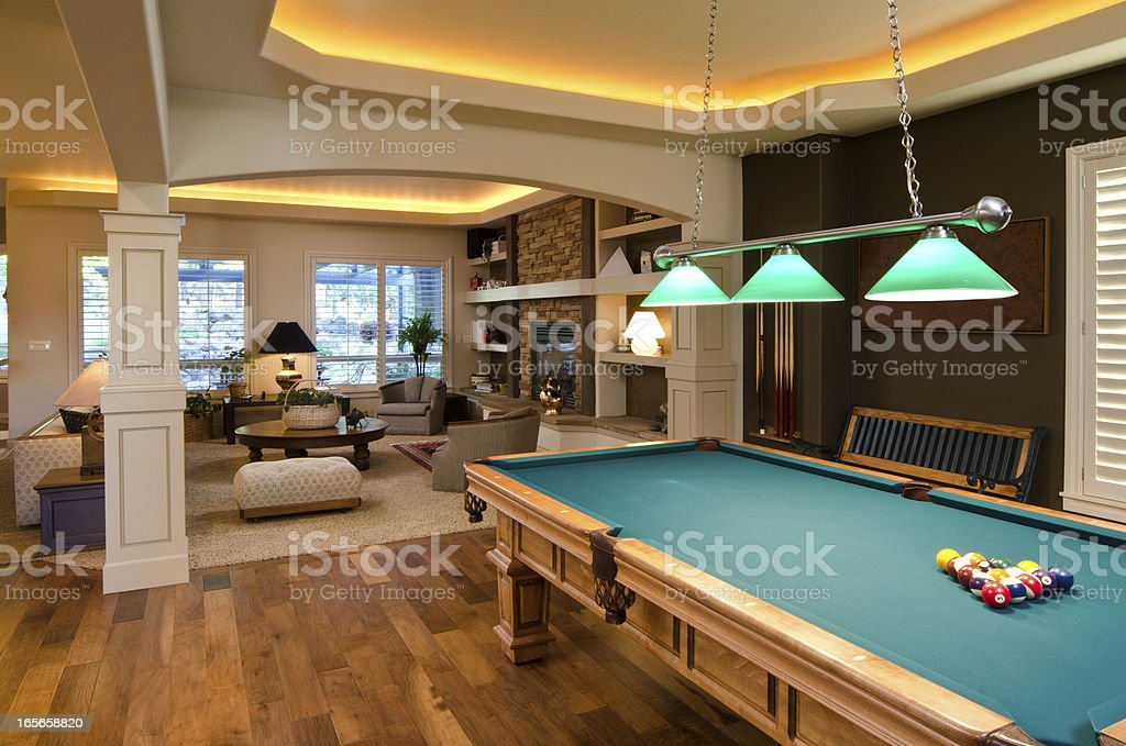 Gaming room with pool table