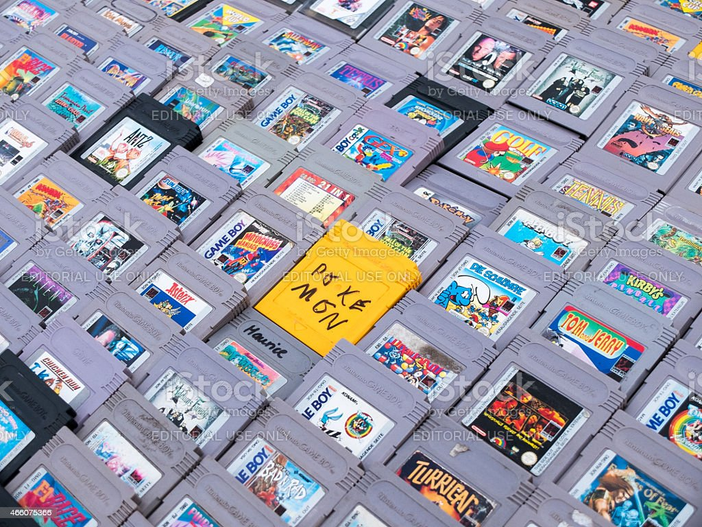 Gameboy games stock photo