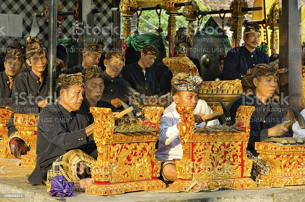 Gamelan orchestra at a Hindu ceremony in Bali royalty-free stock photo