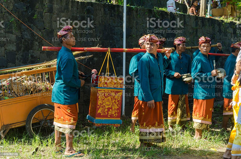 Gamelan orchestra at a Hindu ceremony in Bali stock photo
