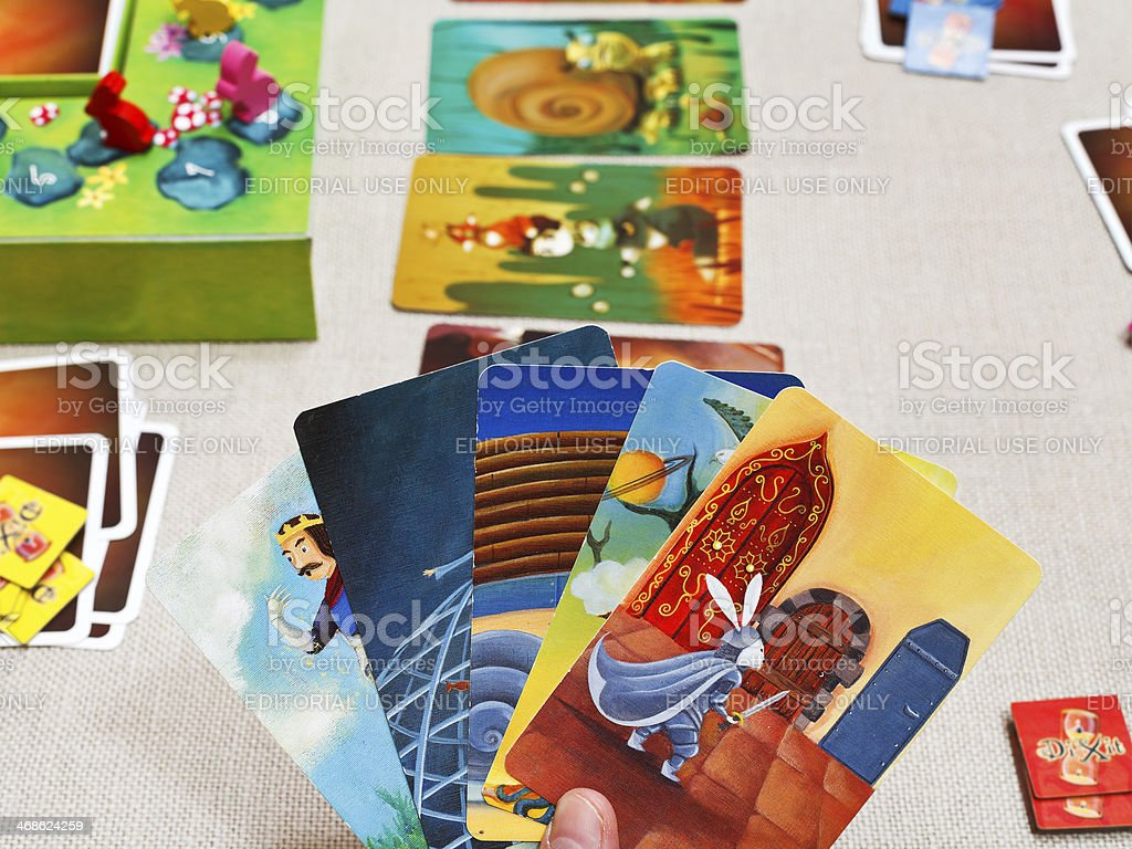 gameplay of Dixit card game stock photo