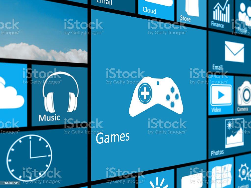 games mosaic interface stock photo