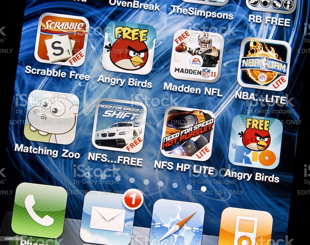Games on Iphone 4 royalty-free stock photo