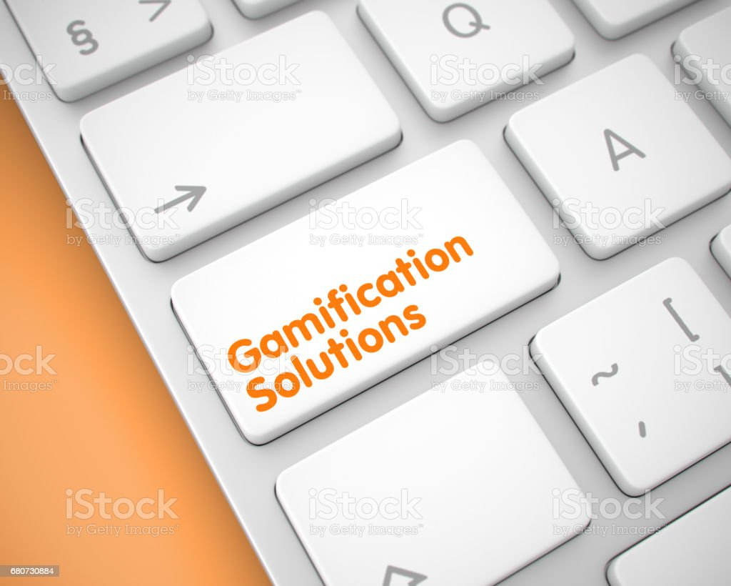 Gamification Solutions - Inscription on the White Keyboard Butto stock photo