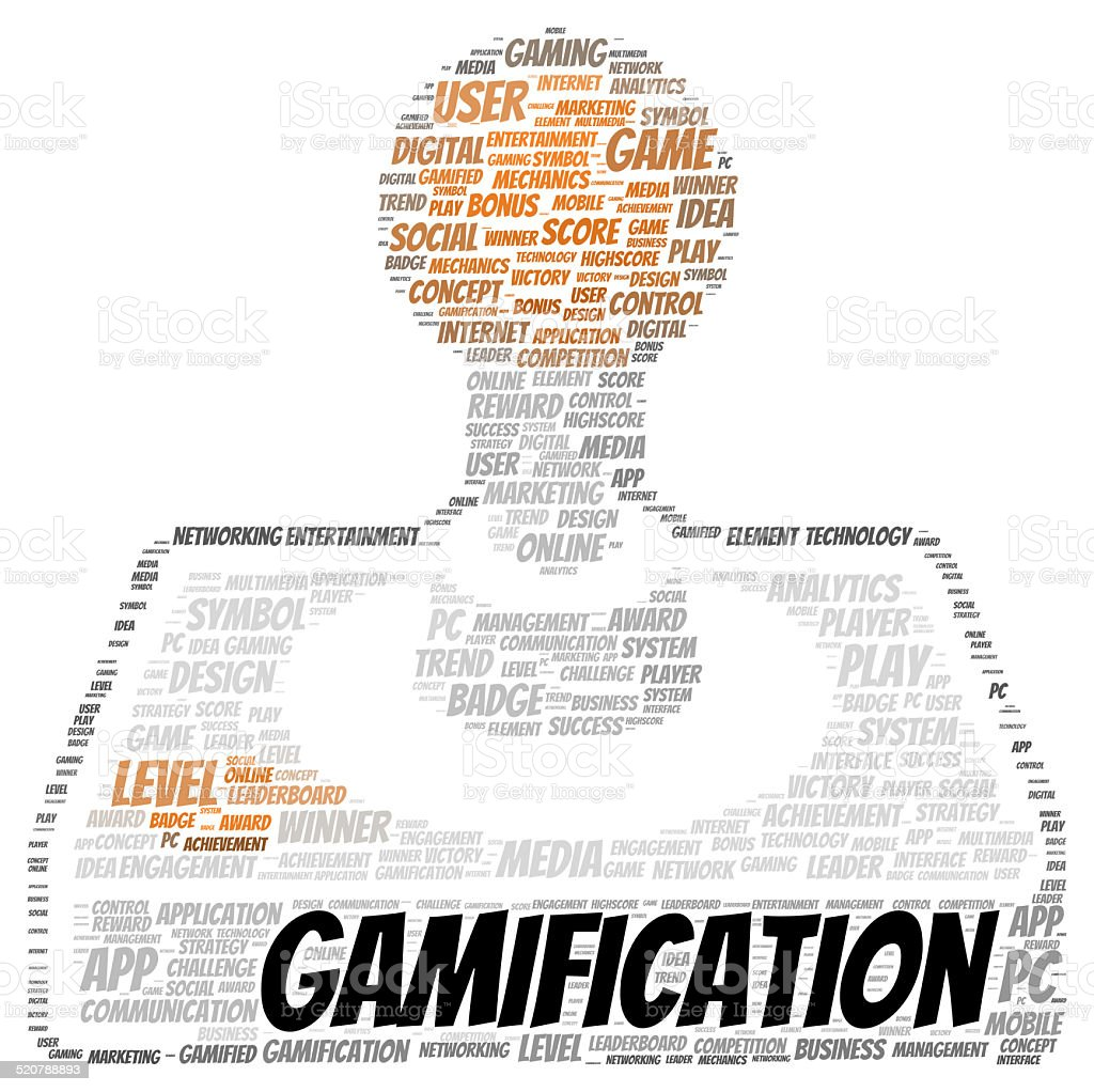 Gamification word cloud shape stock photo