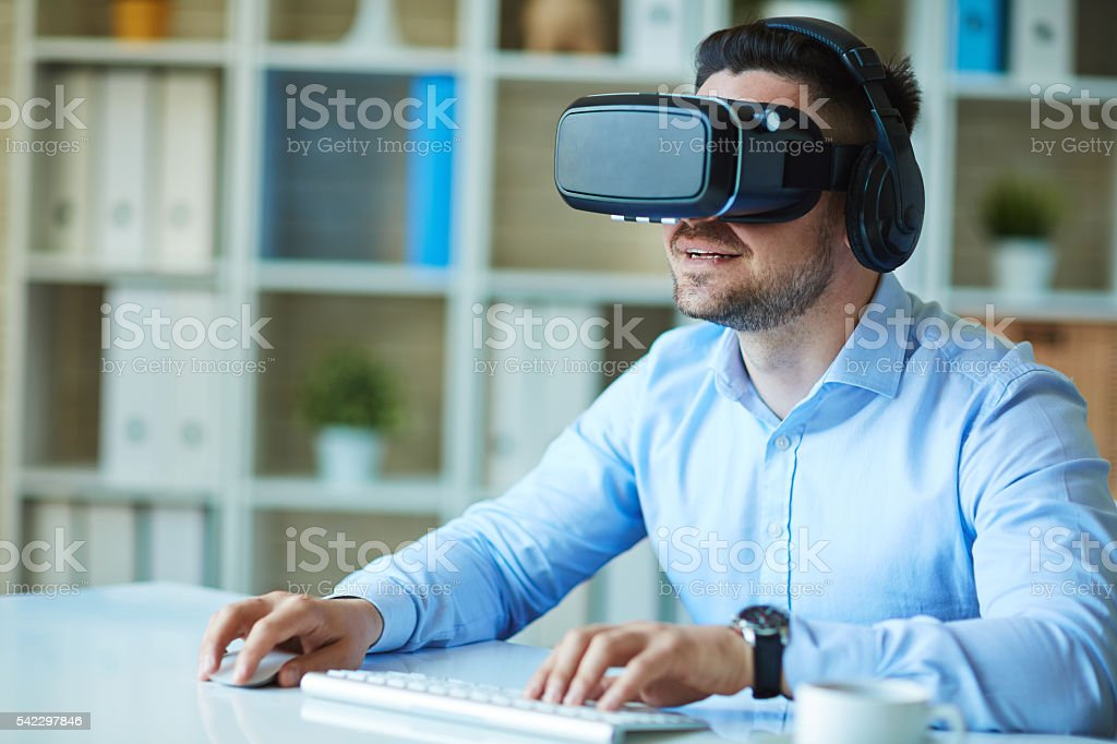 Gaming at workplace stock photo