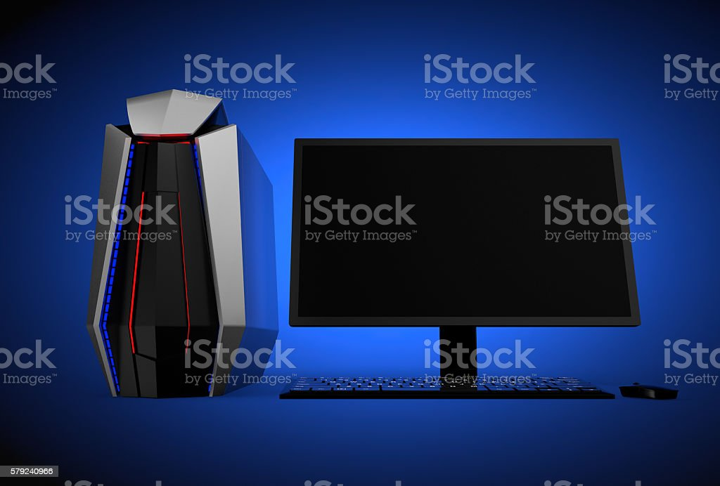 Gaming computer isolated on blue background stock photo