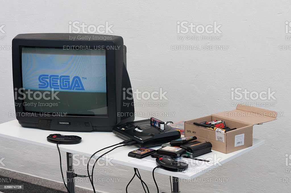 Gaming console with television at Animefest stock photo