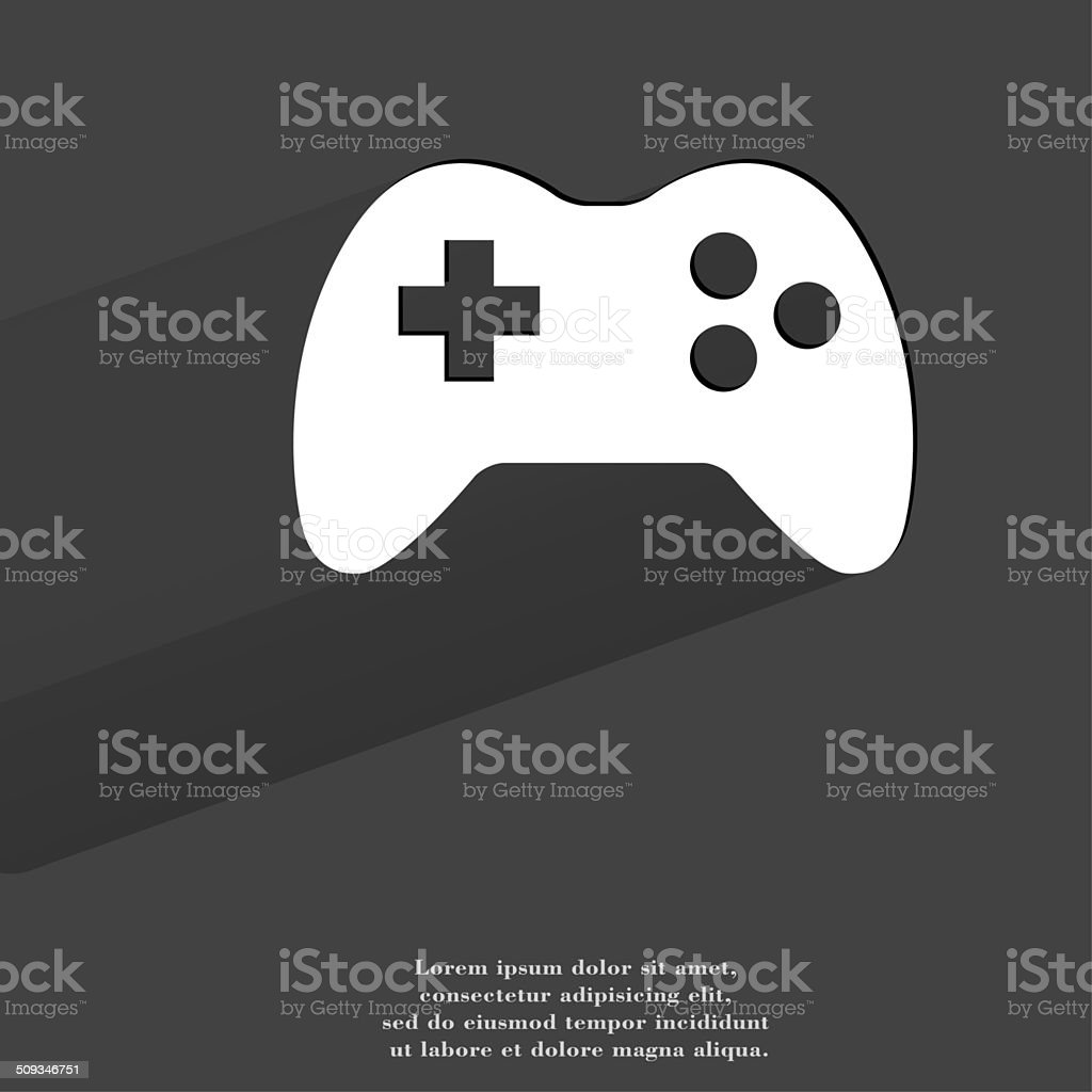 Gaming Joystick. Flat modern web button with long shadow and stock photo