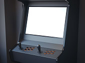 Gaming machine in a bright room. 3d rendering