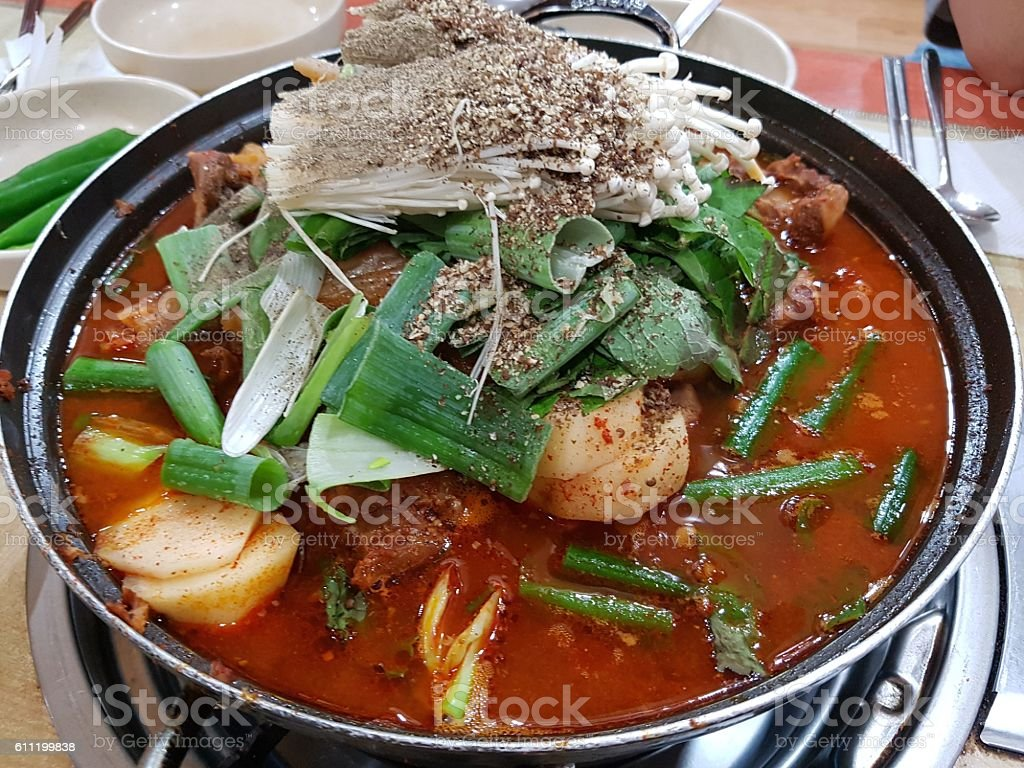 gamjatang, pork bone and potato soup, korean cuisine stock photo