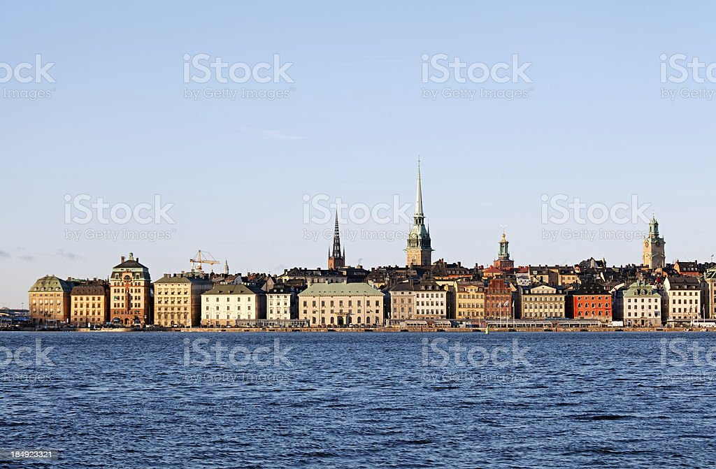 Gamla Stan view from water, Stockholm stock photo