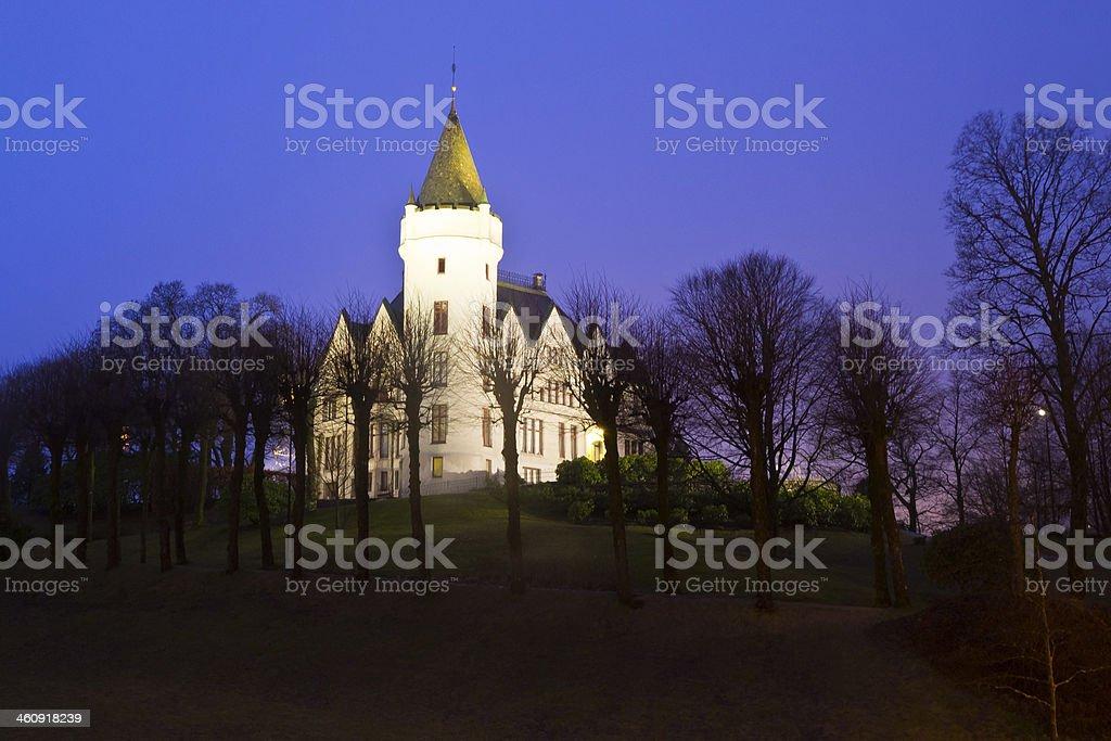 Gamlehaugen at night royalty-free stock photo