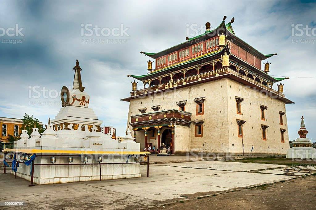 Gandan monastery in Ulan Bator stock photo