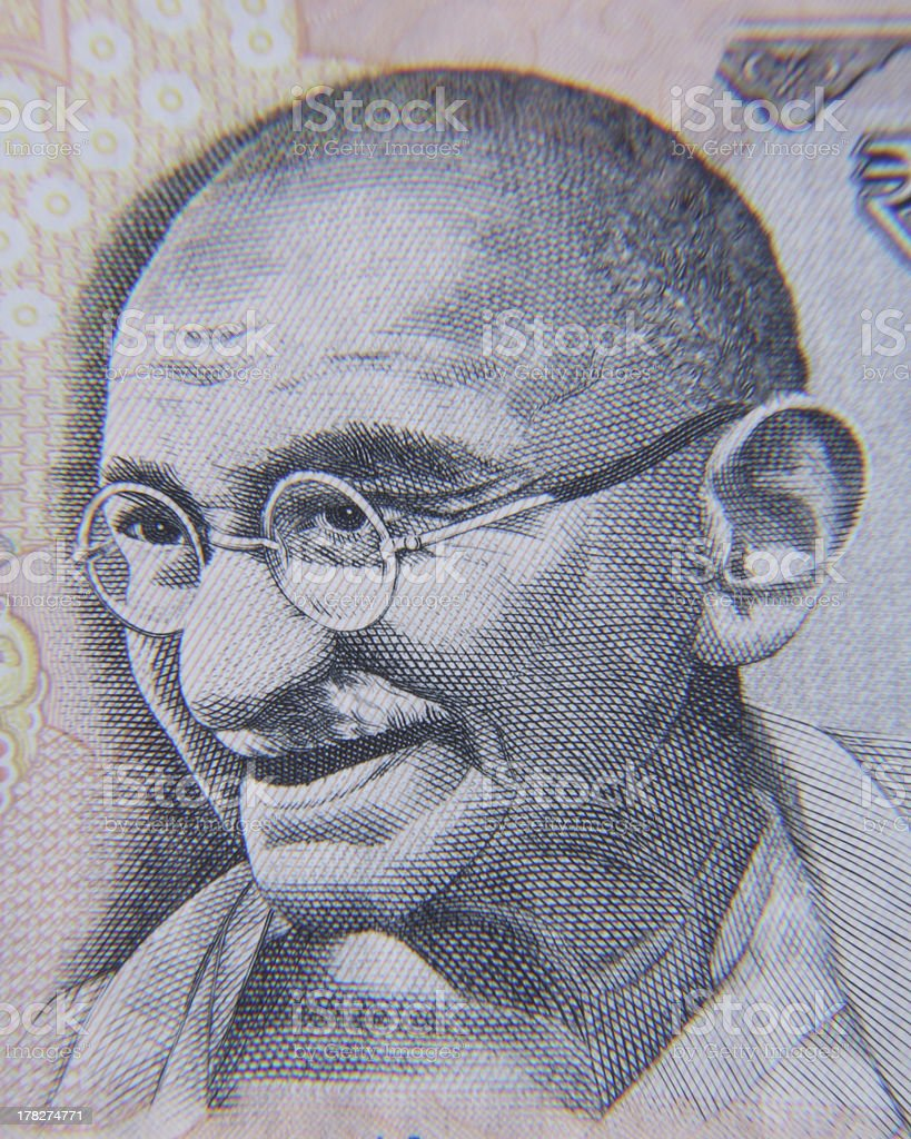 Gandhi depicted in Indian currency in black and white stock photo