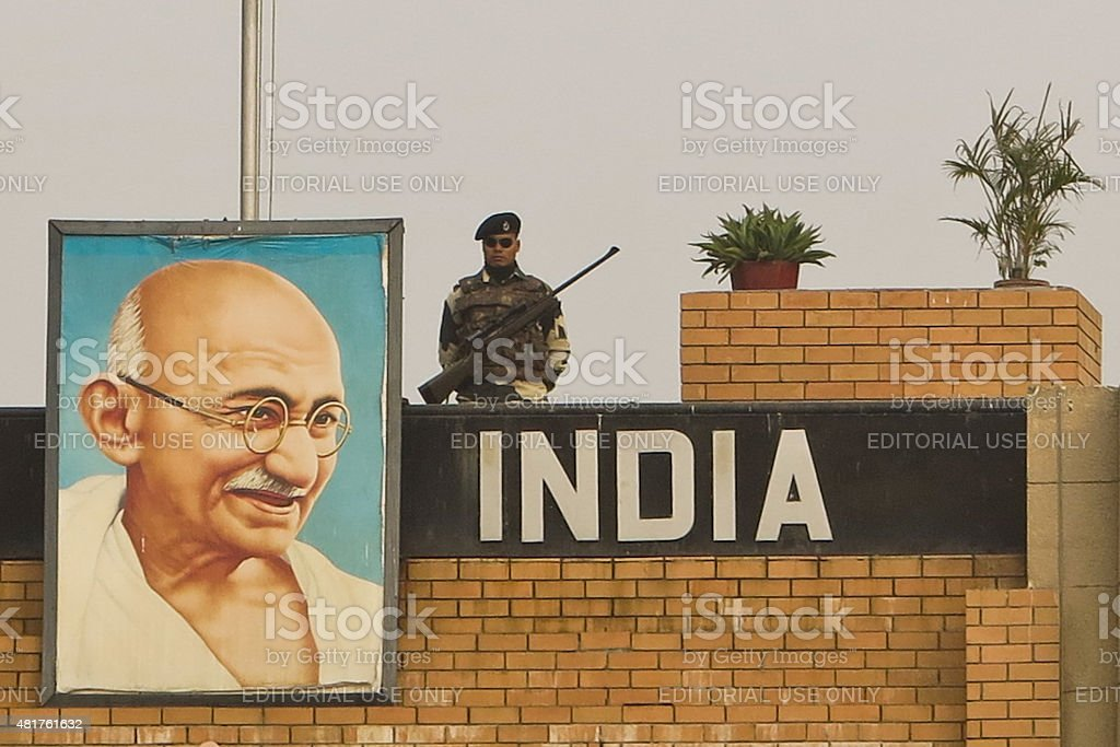 Gandhi painting on The Indian/Pakistan Border, 32km from Amritsa stock photo