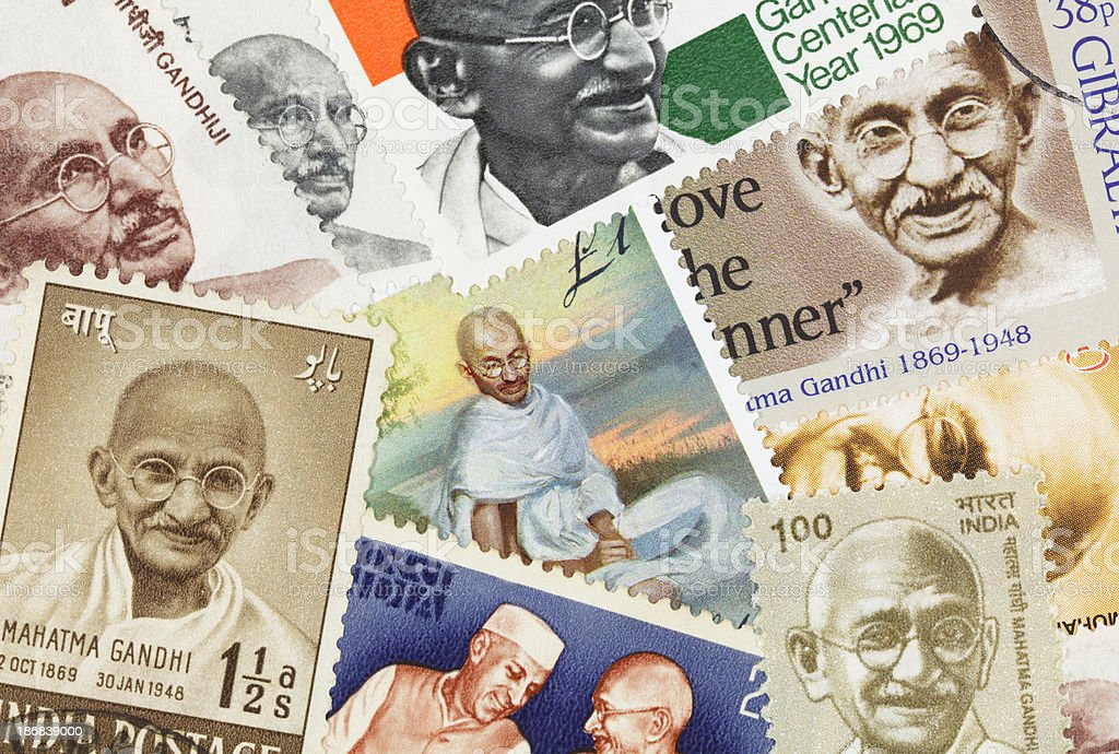 Gandhi postage stamp collection stock photo